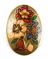 Vintage Cloisonne Enamel Floral Design Brooch By Sea Gems.